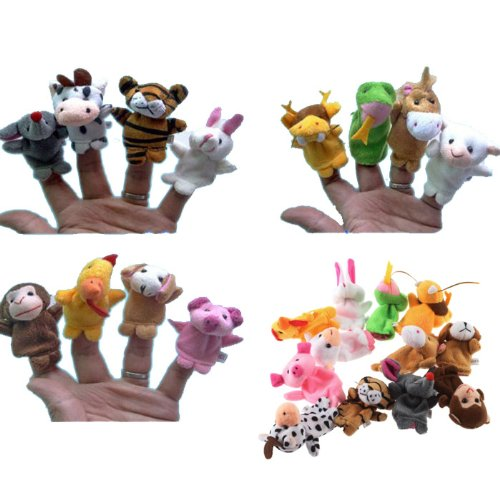 YKS 12 pcs Chinese zodiac style Baby Kids boy girl Educational Soft Toys Animal Finger Puppets Plush Toys (tiger rabbit snake horse sheep monkey dog pig chicken Mouse dragon cattle toy)