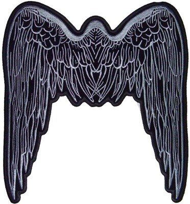 ANGEL WINGS GREY LARGE BACK PATCH For lady Biker Vest!!