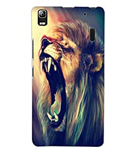 ColourCraft Roaring Lion Design Back Case Cover for LENOVO A7000 TURBO