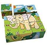 Rolimate Educational Preschool Wooden Cube Block Jigsaw Puzzles – Lion Zebra Elephant Rhinoceros Tiger Rabbit, Birthday Gift Toys for age 1 2 3 Years Old and Up Toddlers Kids Baby Children Boys Girls