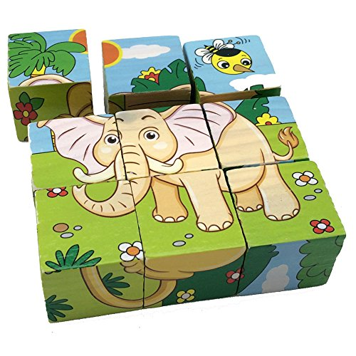 Rolimate-Educational-Preschool-Wooden-Cube-Block-Jigsaw-Puzzles-Lion-Zebra-Elephant-Rhinoceros-Tiger-Rabbit-Birthday-Gift-Toys-for-age-1-2-3-Years-Old-and-Up-Toddlers-Kids-Baby-Children-Boys-Girls