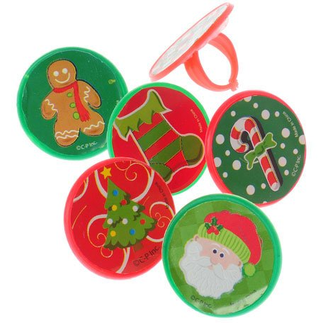 "Lot Of 48 Christmas Sticker Plastic Adjustable Child Size Rings - 1"" - 1"