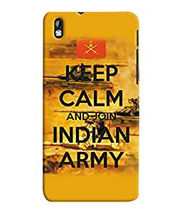 Fuson 3D Printed Indian Army Designer Back Case Cover for HTC Desire 816 - D907
