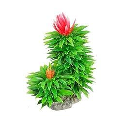 Fish Tank 6.6Height Green Red Aquarium Aquatic Flowers Grass Plant Ornament