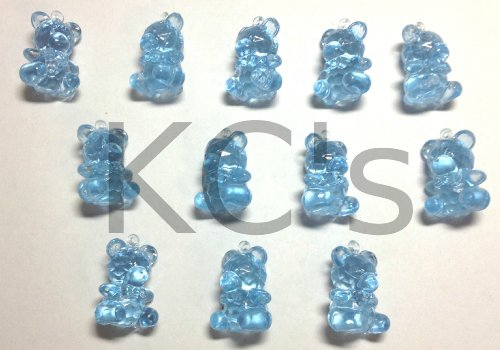 """60 Pcs 1"""" Blue Acrylic Teddy Bears Baby Shower Party Game Decoration Favors"""