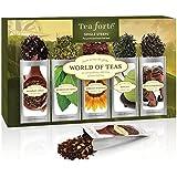 Tea Forte WORLD OF TEAS Sing Steeps Loose Leaf Tea Sampler, 15 Single Serve Pouches - Green Tea, Herbal Tea, Black Tea