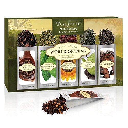 Tea Forté® WORLD OF TEAS Single Steeps® Loose Leaf Tea Sampler, 15 Single Serve Pouches - Green Tea, Herbal Tea, Black Tea