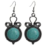 Yazilind Round Shape Rimous Curves Tibetan Silver Turquoise Drop Dangle Earrings length:2.4In