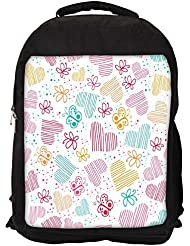 """Snoogg Multicolor Hearts And Butterflies Casual Laptop Backpak Fits All 15 - 15.6"""" Inch Laptops"""