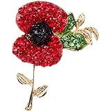 Red, Black, Green Austrian Crystal Poppy Flower Brooch In Gold Plating - 55mm Length