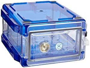 "Bel-Art Scienceware 420710006 Clear Secador 1.0 Desiccator Cabinet with Blue End Cap, 13.4"" Width x 8.4"" Height x 16.3"" Depth"
