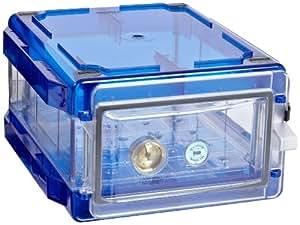 "Bel-Art Scienceware 420710006 Clear Secador 1.0 Desiccator Cabinet with Blue End Cap, 13.4"" Width x 8.4"" Height x 16.3"" Depth"