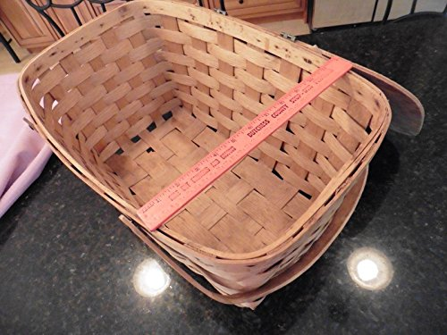"""Vintage Picnic basket wooden X-large 2 handles hinged top apx 20"""" x 12"""" x 10"""" 2"""