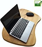 Premium Bamboo Laptop Lap Desk of Extra Large Size. 100% Natural Bamboo Lapdesk Surface with Cushion and Handle. Can Be Used As a Mobile Desk, Bed Tray, Book and Writing Table.