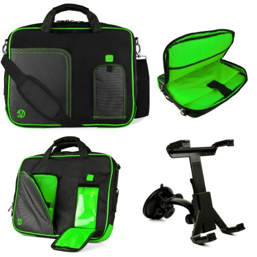 Green Vg Pindar Edition Messenger Bag Carrying Case For Aluratek At197F Cinepad 9.7- Inch Android Tablet / Aluratek At110F Cinepad 10-Inch Multi-Touch Android Tablet + Windshield Tablet Mount Cradle With Suction Cub Holder + 3.5Mm Stereo Auxiliary Audio C