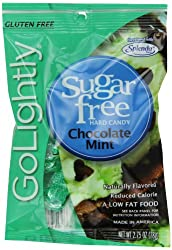 GoLightly Sugar Free Chocolate Mint Candy, 2.75-Ounce Bags (Pack of 12)