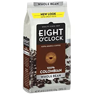 Eight O'Clock Coffee, 100% Columbian Whole Bean, 40-Ounce Package