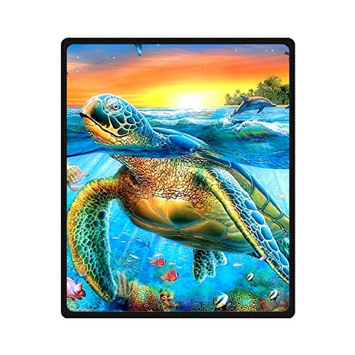 Custom Turtle Fishes Dolphin Blue Sea Coral Supersoft Throw Fleece Blanket