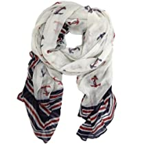 Bucasi Anchor Print Scarf with Stripes Navy and Print Themed Scarf