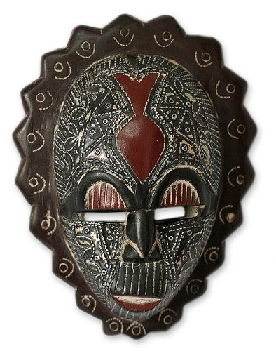 NOVICA Decorative Ghanaian Sese Wood Mask, Black 'Happiness'