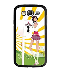 Fuson Telephone Booth Girl Back Case Cover for SAMSUNG GALAXY A7 - D3982