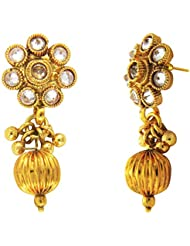 Traditional Ethnic White Floral Gold Plated Dangler Earrings With Crystals For Women By Donna ER30115G