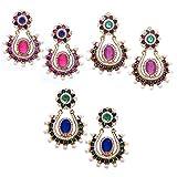 Combo of 3 ( Pack of Three Earrings Set )Tradisyon Pink, Purple, Blue Style Diva Elegant Traditional Earrings for Women / Girls