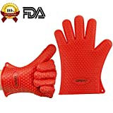 Chefaith Silicone Oven Mitts, Pot Holder for Cooking, Baking, Barbeque (BBQ), Smoking - Heat Resistant (Up to 480°F) Kitchen Gloves, Non-Slip Food Grade Silicone for Perfect Grip, Ultra Durable [Red]