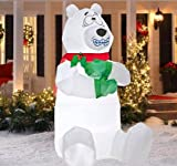 5' Tall Airblown Shivering Polar Bear Christmas Inflatable - Garden outdoor decoration