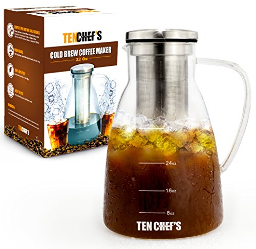 Cold Brew Coffee Maker And Hyper Iced Tea Infuser By TenChef's (32 oz) - 1 Liter Glass Pitcher with Removable Stainless Steel Filter System Chiller, Easy to Use And Clean, BPA Free
