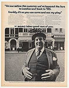 1972 Robert Morley BOAC British Airways Photo Print Ad