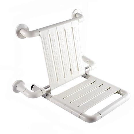 Sedia da doccia Sgabello da bagno pieghevole per posti a sedere Sgabello posteriore sicuro in gamba Sedile doccia ( Colore : Bianca )