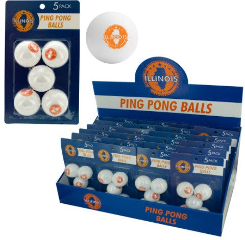 5-Pack Illinois Ping Pong Balls (24 Pieces) - 5-Pack Of Ping Pong Balls With