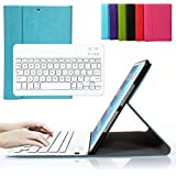 Bestmall Ultra-Slim Removable Wireless Bluetooth Keyboard with PU Folding Leather Folio Case Cover For Ipad air Built in Stand Function-Blue