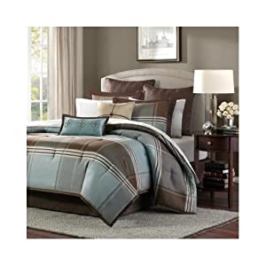 Modern Plaid Blue Brown Grey Comforter Bedding Set with Pillows (queen)