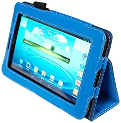 Kyasi Seattle Classic 7-inch Folio Case Cover Stand in Premium PU Leather for Samsung Galaxy Tab 2, October Blue