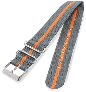 Timex T7B909 Weekender 20mm Gray/Orange Nylon Slip-Thru Watch Strap