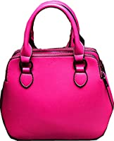 Buenocn Women's Leather Fashion Double Zippered Tote Cross Body Shoulder Bag Handbag Shy263 (small, rose)