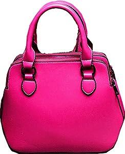 Buenocn Women's Leather Fashion Double Zippered Tote Cross Body Shoulder Bag Handbag Shy263 (small, rose)