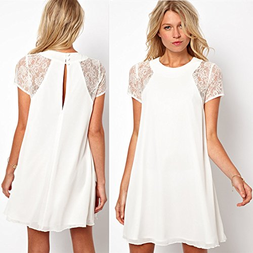 Minetom Spring summer new women clothing lace short sleeve white back chiffon sexy casual lace dress Plus size...