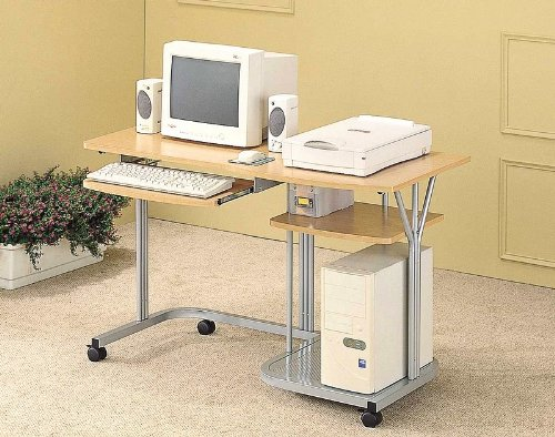 Buy Low Price Comfortable Beech/Silver Finish Computer Desk Workstation w/Keyboard Tray (B001BKPE3G)