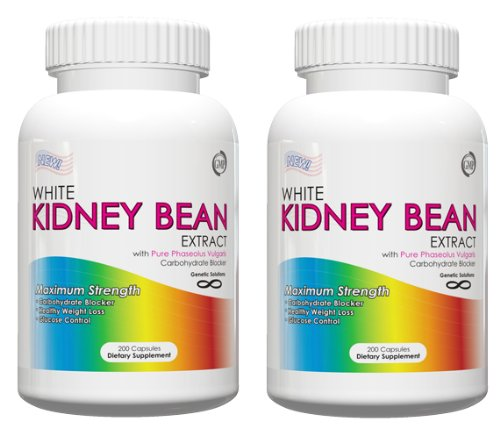 White Kidney Bean Extract-Metabolism Booster- 1000Mg Per Serving, 200 Capsules, 90 Day Supply, Carb Blocker And Appetite Suppressant, (Holiday Weight Loss Supplements) Pack Of 2