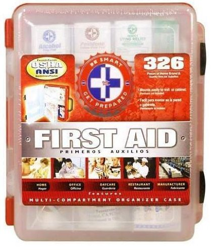 First Aid Kit With Hard Case- 326 pcs- First Aid Complete Care Kit – Exceeds OSHA & ANSI Guidelines – Ideal for the Workplace – Disaster Preparedness (Color Red)