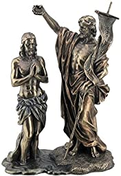 10.63'' Jesus Baptized By St. John The Baptist Figurine, Bronze Color by US