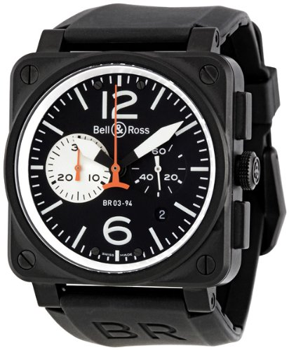Bell and Ross Aviation Black and White Dial Chronograph Automatic Mens Watch BR0394-BW-CA