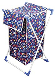 Bonita Cesta Laundry Basket (White and Blue)