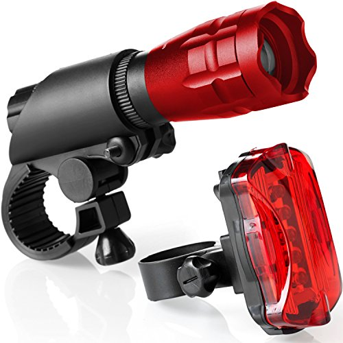 Bike Light Set - Super Bright LED Lights for Your Bicycle - Easy to Mount Headlight and Taillight with Quick Release System - Best Front and Rear Lightning - Fits All Bikes - Lifetime Guarantee