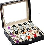 腕時計 収納 ケース ボックス フェイクレザー ブレスレット ストレージボックス ウォッチディスプレイ 見せる収納 インテリア 収納雑貨 ジュエリー収納 シック シンプル スマートなデザイン (10本用)