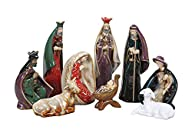 Colorful Stoneware Nativity 9pc Set -…