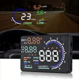 color tree A8 HUD Head up Display for Car with OBDII EUOBD,5.5 inch Universal Digital Speedometer Car Compass with Speed, Compass, Over Speed Alarm, KMH/MPH, Windshield Projector with Film (Tamaño: HUDA8)
